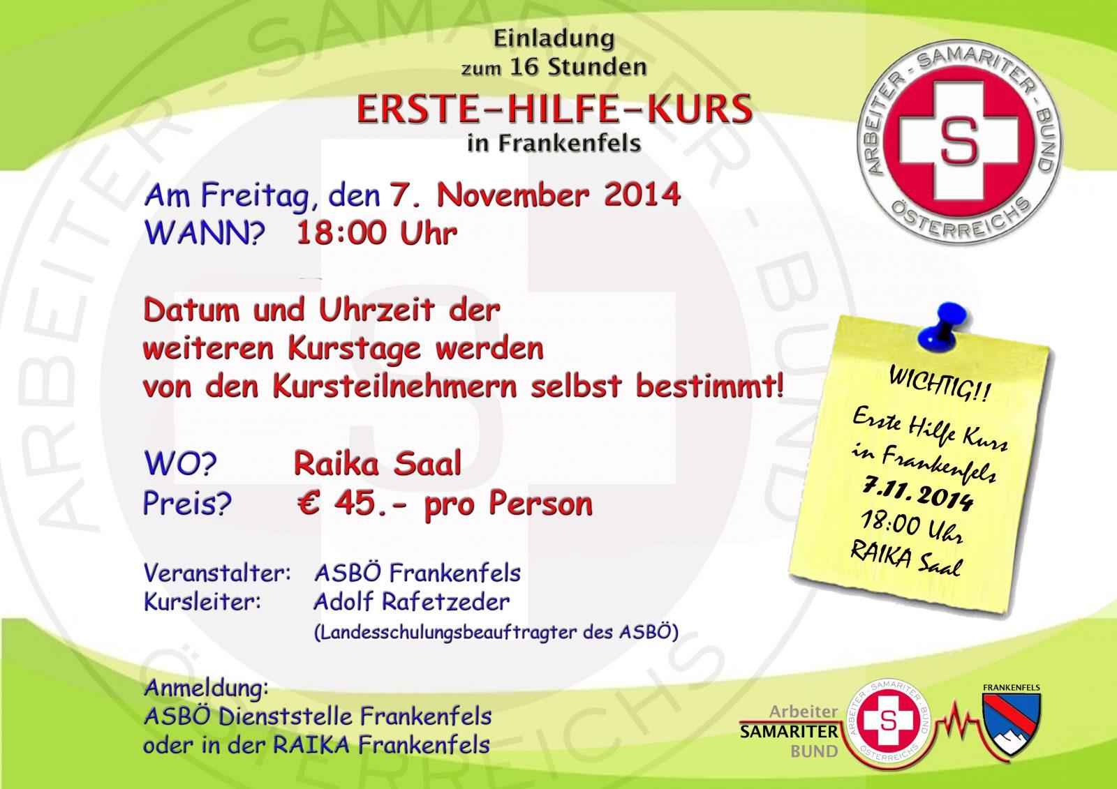 16 stunden erste-hilfe-kurs in frankenfels 2014, Einladung