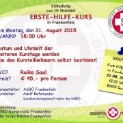Erste Hilfe Kurs August 2015 Plakat