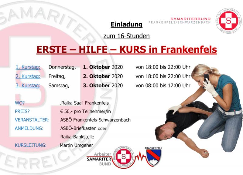 Plakat Erste Hilfe Kurs Frankefels Oktober 2020