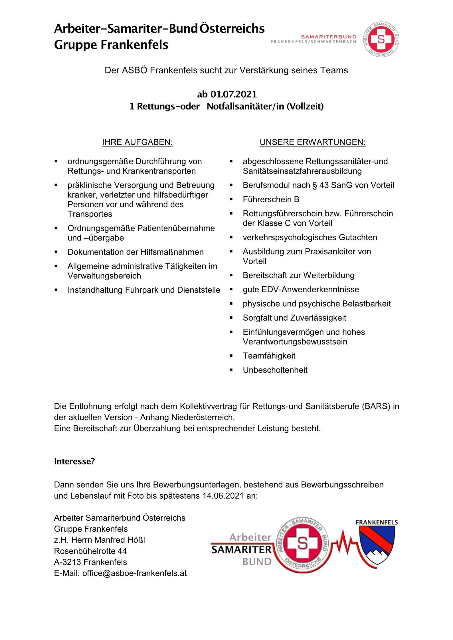 Stelleninserat NFS RS Frankenfels
